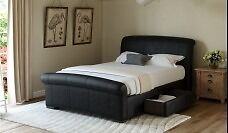 Faux Brown leather bed frame