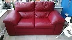 Large Red Leather 2 seater sofa