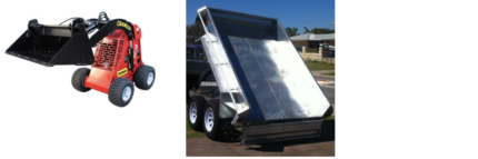 Tip Trailer $110/day;  Dingo & Tipper Combo $297/day