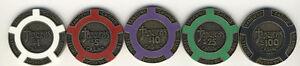 5 Tangiers Casino Las Vegas BRASS CORE Poker Chips Set of 5 $1 $5 $10 $25 $100 *