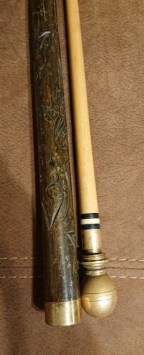 Vintage hidden Pool Cue Stick With Brass turns into walking stick
