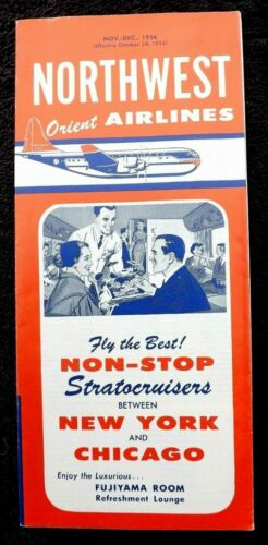 VINTAGE 1956 NORTHWEST ORIENT AIRLINES BROCHURE NWA TIMETABLE Stratocruiser