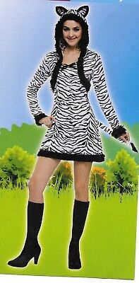 Zebra Costume Adult Halloween Dress Hood Tail Black White Animal Print  S 4-6](Zebra Costume Adult)