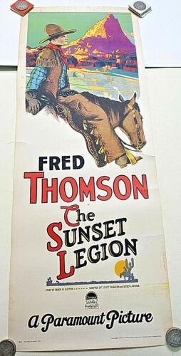 1928 THE SUNSET LEGION-Fred Thompson Rare & Original 14x36 INSERT POSTER, Silent
