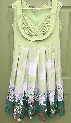 Vintage Style 1950s A Line Dress, Light Green With Mountains, Pine Trees, XXL