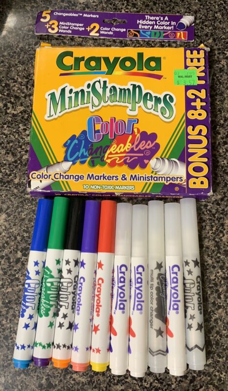 Vintage Crayola Color Changeables Washable Mini Stampers Set Of 10 Crayola 1998