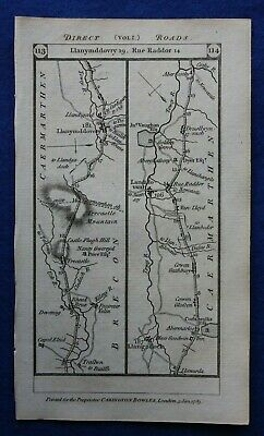 Original antique road map BRECON, CARMARTHEN, PEMBROKESHIRE, Paterson 1785