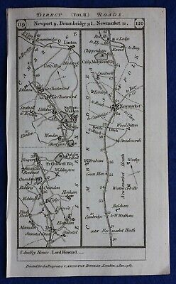 Original antique road map ESSEX, CAMBRIDGESHIRE, SUFFOLK, NORFOLK, Paterson 1785