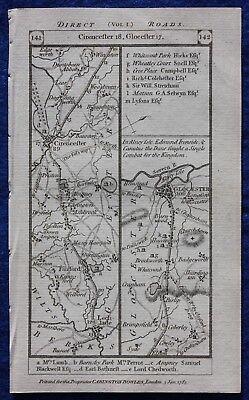 Original antique road map GLOUCESTERSHIRE, BERKSHIRE, CIRENCESTER, Paterson 1785
