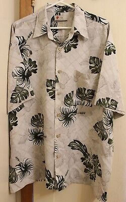 (XG Island Tropics Hawaiian Shirt Aloha Tan Green Hibiscus Flower Mens Sz XL )