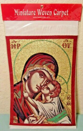 Woven Red Religious Mother & Child Rug Carpet Dollhouse Orthodox Catholic