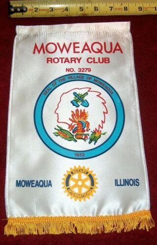 B) VINTAGE Rotary International Club wall banner   MOWEAQUA   ILLINOIS