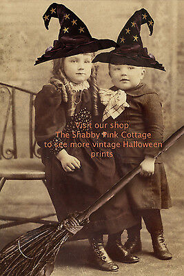 Halloween Baby Photos (Vintage Halloween Witches Photograph Witch Babies and Brooms Antique Print)