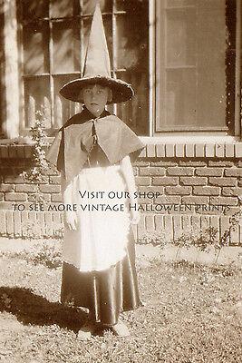 Vintage Halloween Photograph Little Kitchen Witch Antique Print Witch Photo - Antique Halloween Photos