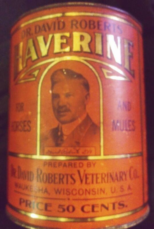 VINTAGE CAN TIN HAVERINE DR. DAVID ROBERTS VETERINARY CO WAUKESHA WISCONSIN USA