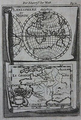Original antique map PLANISPHERE DU MONDE, FRANCE, Alain Manesson Mallet c.1686