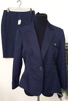 NWT Emily Women's Career Blue 100% Polyester 2 Piece Skirt Suit Sz 10 MSRP $200.