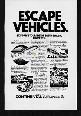 Continental Airlines Escape Vehicle Dc 10 To South Pacific 1981 Fly Drive Ad