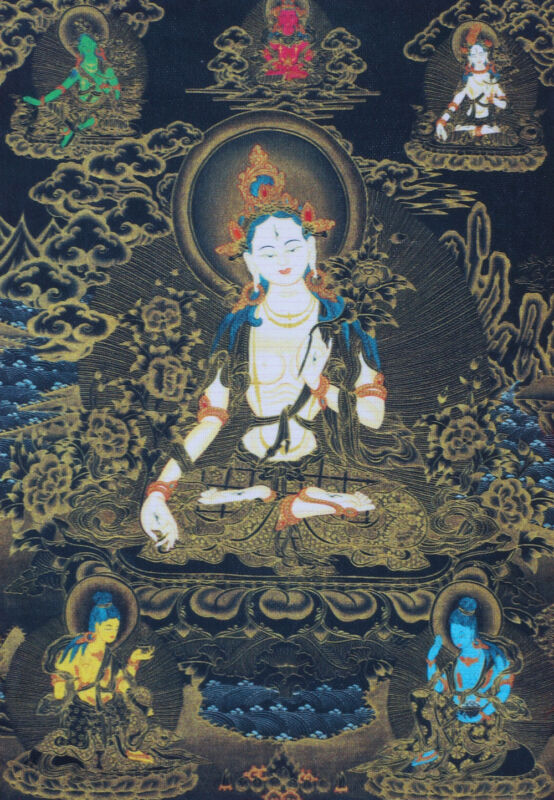 "GODDESS WHITE TARA 14"" BROCADED BLESSED WOOD SCROLL TIBETAN BLACK THANGKA ="