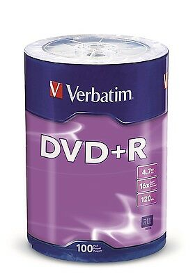 100 Verbatim Dvd R 16X 4 7Gb Silver Branded Logo Media Disc   Tape Wrap   96526