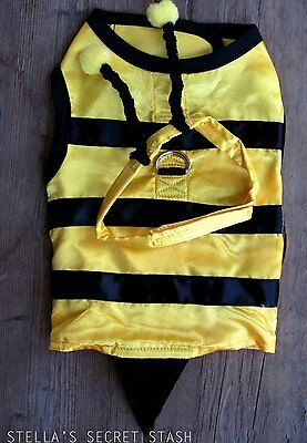 Bumble Bee Halloween Costumes For Dogs (New Dog pet clothes Bumble Bee Harness Set XS Halloween Costume Fits 3-5 lbs.)