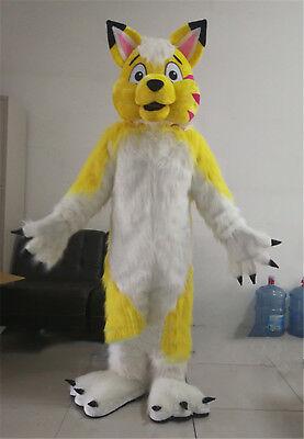 Xmas Yellow Husky Mascot Costume Dog Wolf Fox Cartoon Animal Fancy Cosplay Dress - Dog Fox Costume