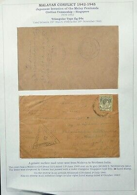 MALAYA 13 JUN 1940 CENSORED SURFACE MAIL COVER FROM MALACCA TO SOUTH INDIA