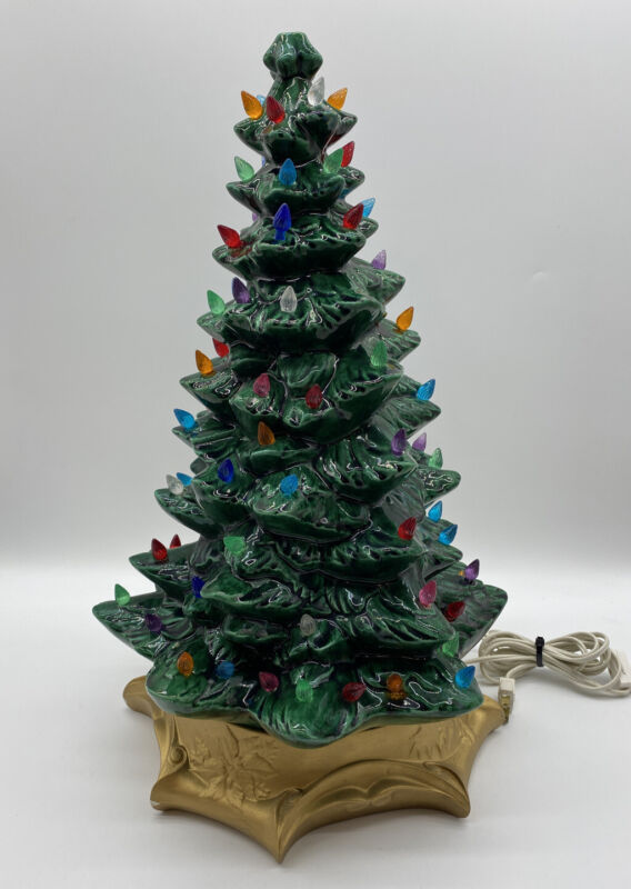 "Vintage Ceramic Christmas Tree 19"" Total with Base NICE"