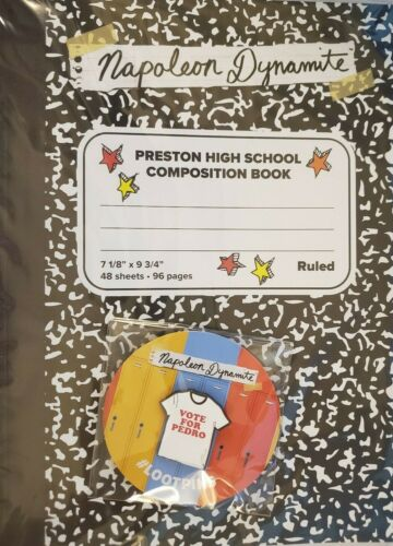 Napoleon Dynamite High School Rules Composition Book and Vote for Pedro Pin New
