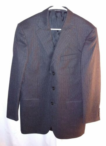 Versace Collection Mens Blazer Sport Coat US 40R EU 50R Black Wool Pinstripe