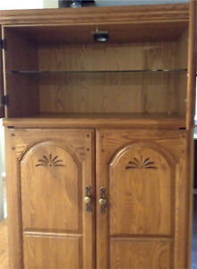 Large Oak Cabinet W/Light