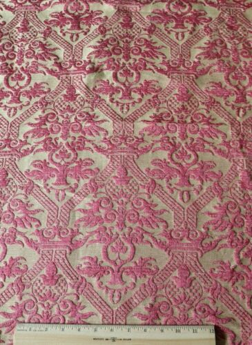 """French Antique 19thC Silk Red Frame Home Fabric~L-46""""X W-29"""""""
