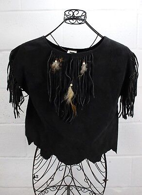 HB USA Gypsy's Place Black Leather Beaded Feather Studded Fringe Top M (Feather Place)