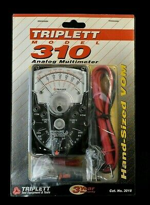 Triplett 310 Compact Hand-sized Analog Vom Multimeter 3018 With 42 Test Leads