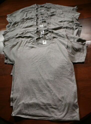 Lot of 9 Jerzees T-Shirts NOS Shirt M Cotton Polyester Blend Solid Blank Gray