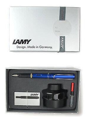 LAMY AL STAR BLUE FOUNTAIN PEN INK BOTTLE, CART & CONVERTER HOLIDAY GIFT SET NIB