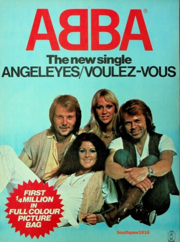 "Classic 1979 ABBA ""Angel Eyes"" Song Release Music Industry Promo Ad Reprint"
