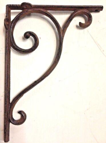SET OF 4 LARGE RUSTIC  BROWN SCROLL BRACE/BRACKET vintage looking patina finish