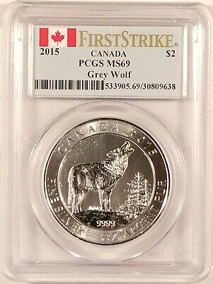 2015 3//4 Oz Canadian .999 Fine Silver Grey Howling Wolf Coin