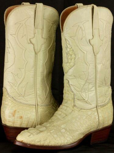 Mens, Off, White, Crocodile, Skin, Cowboy, Boots, Hornback, Genuine, Leather, J, Toe, Size, 7