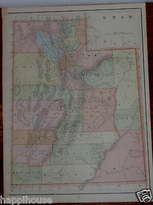 1892 Antique Color Map - Utah 14 x 11 / George F  Cram