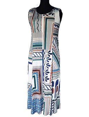 PLEATS PLEASE ISSEY MIYAKE Multicolour Block Print Sleeveless Pleated Midi Dress