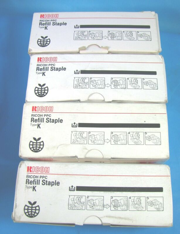 Lot of 4 BOXES GENUINE RICOH REFILL STAPLES TYPE K 410802
