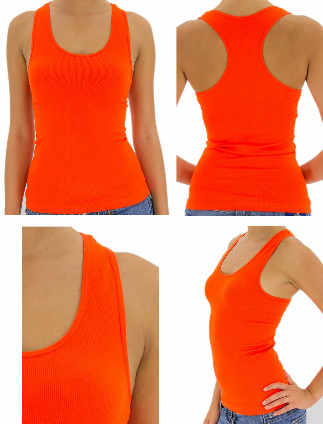 Women Lady Soft Seamless Ribbed Racer Back Stretch Tank Top Yoga Hot Tee Layer Clothing, Shoes & Accessories