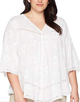 NEW  Karen Kane Plus Off-White Embroidered Gauze Cotton blouse tunic top 2X $114