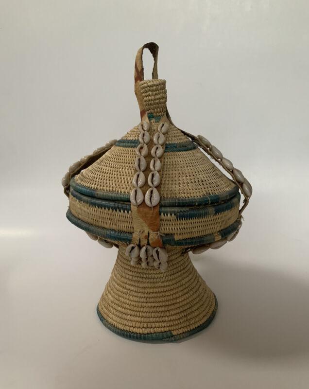 Vtg Lidded Basket African ? Vessel Leather Cowrie Shell Wrap Native Weaving