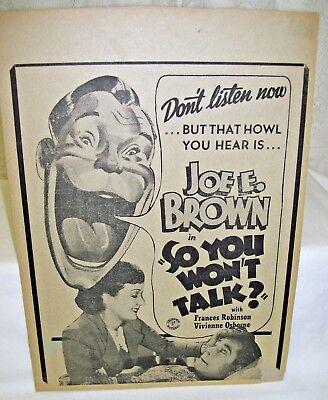 Vintage Movie Poster So You Won't Talk  Joe E. Brown  Frances Robinson