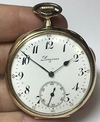 Vintage Longines 585 14k Solid Yellow Gold 17J Open Face Pocket Watch 17 Jewels