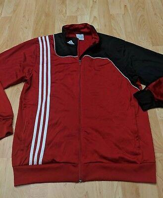 adidas Mens Zippered Track Jacket Size Large L red & black 3 Stripes  BRED