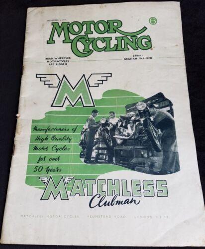 1949 Motor Cycling Magazine Matchless Motorcycles London